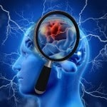 3D medical background with magnifying glass examining brain